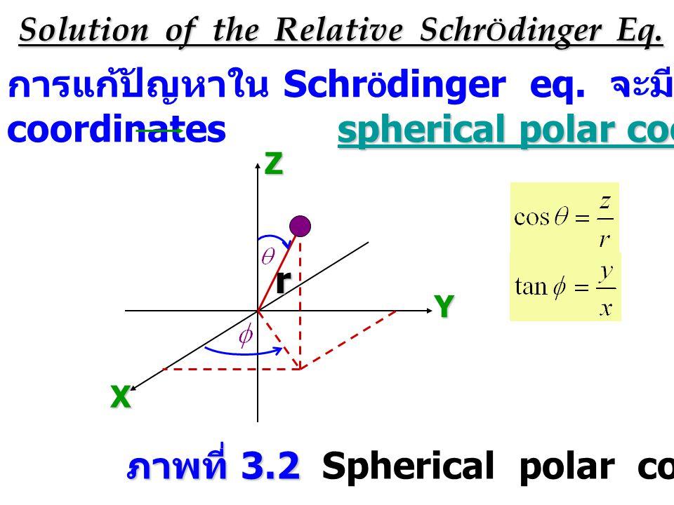 Solution of the Relative Schr Ö dinger Eq. การแก้ปัญหาใน Schr Ö dinger eq. จะมีการ transform cartesian spherical polar coordinates coordinates spheric