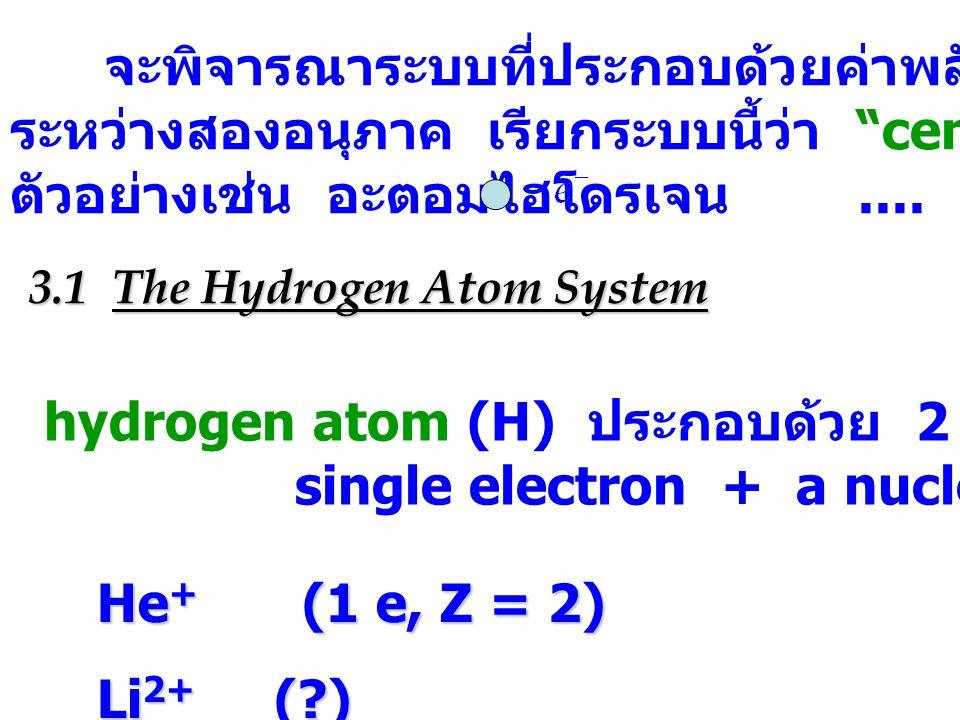 จะพิจารณาระบบที่ประกอบด้วยค่าพลังงานศักย์ขึ้นกับระยะทาง ระหว่างสองอนุภาค เรียกระบบนี้ว่า central force system ตัวอย่างเช่น อะตอมไฮโดรเจน....