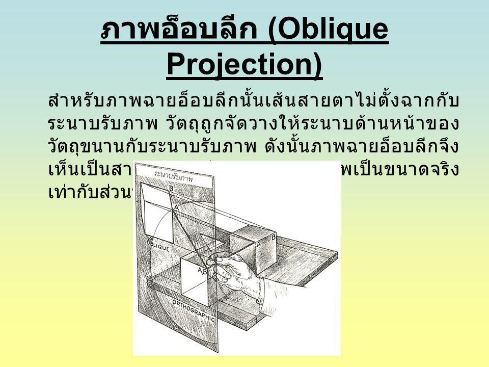ภาพอ็อบลีก (Oblique Projection) สำหรับภาพฉายอ็อบลีกนั้นเส้นสายตาไม่ตั้งฉากกับ ระนาบรับภาพ วัตถุถูกจัดวางให้ระนาบด้านหน้าของ วัตถุขนานกับระนาบรับภาพ ดั