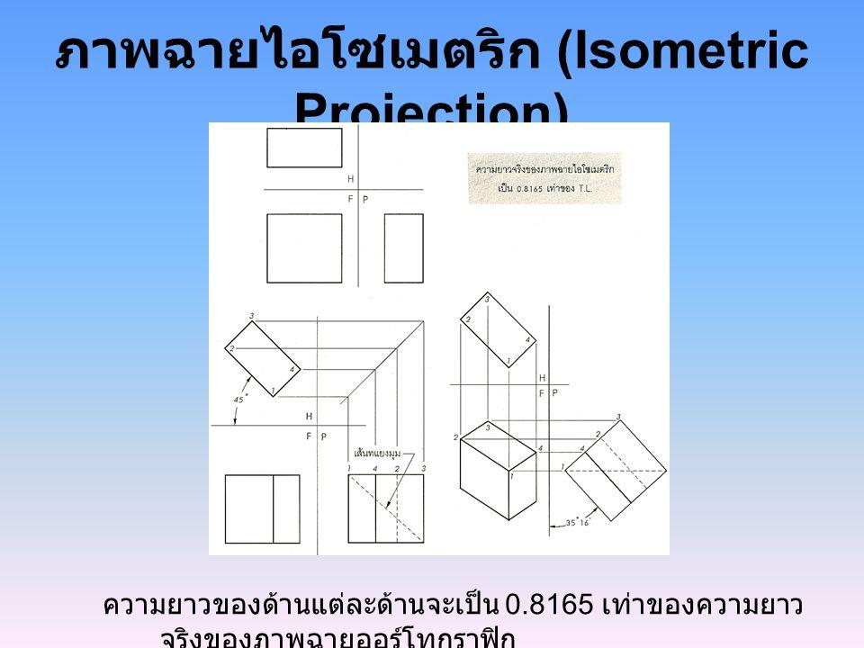 ภาพฉายไอโซเมตริก (Isometric Projection) ความยาวของด้านแต่ละด้านจะเป็น 0.8165 เท่าของความยาว จริงของภาพฉายออร์โทกราฟิก