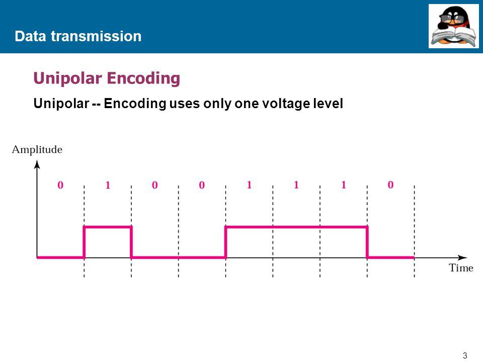 4 Proprietary and Confidential to Accenture Data transmission Bipolar Encoding Bipolar – Encoding uses three levels (Positive, Zero and Negative) ขอกล่าวถึง 2 ลักษณะคือ Bipolar-AMI และ Pseudo Ternary สำหรับ Bipolar-AMI (Bipolar-Alternate Mark Invention) มีหลักการคือ  เมื่อข้อมูลเป็น 0 สัญญาณจะอยู่ในระดับปกติ  เมื่อข้อมูลเป็น 1 สัญญาณจะเปลี่ยนเป็น High หรือ Low ซึ่งจะทำให้การเปลี่ยนรูปแบบสัญญาณด้วยวิธีนี้ ใช้ระดับสัญญาณถึง 3 ระดับคือ 0, High และ Low