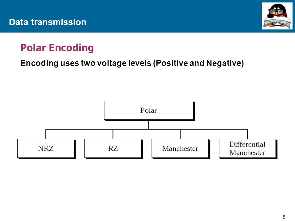 9 Proprietary and Confidential to Accenture Data transmission Polar Encoding NRZ (Non-Return to Zeroes)  NRZ-L จะแบ่งเป็น 2 level คือ High กับ Low โดยที่เมื่อสัญญาณอยู่ที่ ระดับ High จะหมายถึงข้อมูลเป็น 0 ส่วน Low จะหมายถึงข้อมูลเป็น 1  NRZ-I (Non-Return to Zeroes Invert on one) มีหลักการดังนี้คือ –เมื่อข้อมูลเป็น 1 ให้ทำการเปลี่ยนแปลงระดับของสัญญาณที่จุดเริ่มต้นของ Pulse โดยจะเปลี่ยนจาก High  Low หรือ Low  High –เมื่อข้อมูลเป็น 0 จะไม่มีการเปลี่ยนแปลงของระดับสัญญาณ