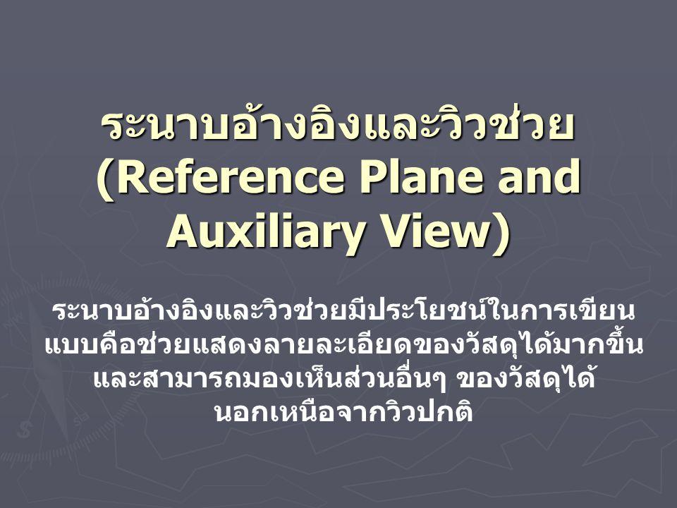 ระนาบอ้างอิงและวิวช่วย (Reference Plane and Auxiliary View) ระนาบอ้างอิงและวิวช่วยมีประโยชน์ในการเขียน แบบคือช่วยแสดงลายละเอียดของวัสดุได้มากขึ้น และสามารถมองเห็นส่วนอื่นๆ ของวัสดุได้ นอกเหนือจากวิวปกติ
