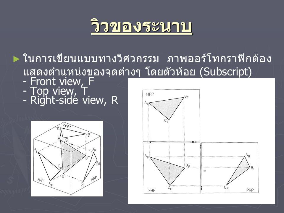 วิวของระนาบ ► ► ในการเขียนแบบทางวิศวกรรม ภาพออร์โทกราฟิกต้อง แสดงตำแหน่งของจุดต่างๆ โดยตัวห้อย (Subscript) - Front view, F - Top view, T - Right-side view, R