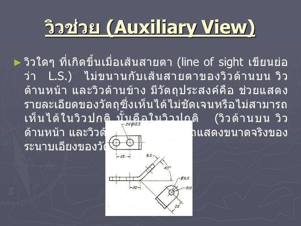 วิวช่วย (Auxiliary View) ► ► วิวใดๆ ที่เกิดขึ้นเมื่อเส้นสายตา (line of sight เขียนย่อ ว่า L.S.) ไม่ขนานกับเส้นสายตาของวิวด้านบน วิว ด้านหน้า และวิวด้า