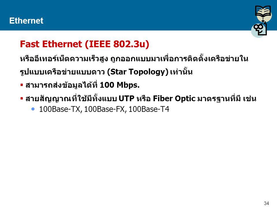 34 Proprietary and Confidential to Accenture Ethernet Fast Ethernet (IEEE 802.3u) หรืออีเทอร์เน็ตความเร็วสูง ถูกออกแบบมาเพื่อการติดตั้งเครือข่ายใน รูป