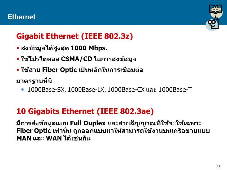 35 Proprietary and Confidential to Accenture Ethernet Gigabit Ethernet (IEEE 802.3z)  ส่งข้อมูลได้สูงสุด 1000 Mbps.  ใช้โปรโตคอล CSMA/CD ในการส่งข้อ