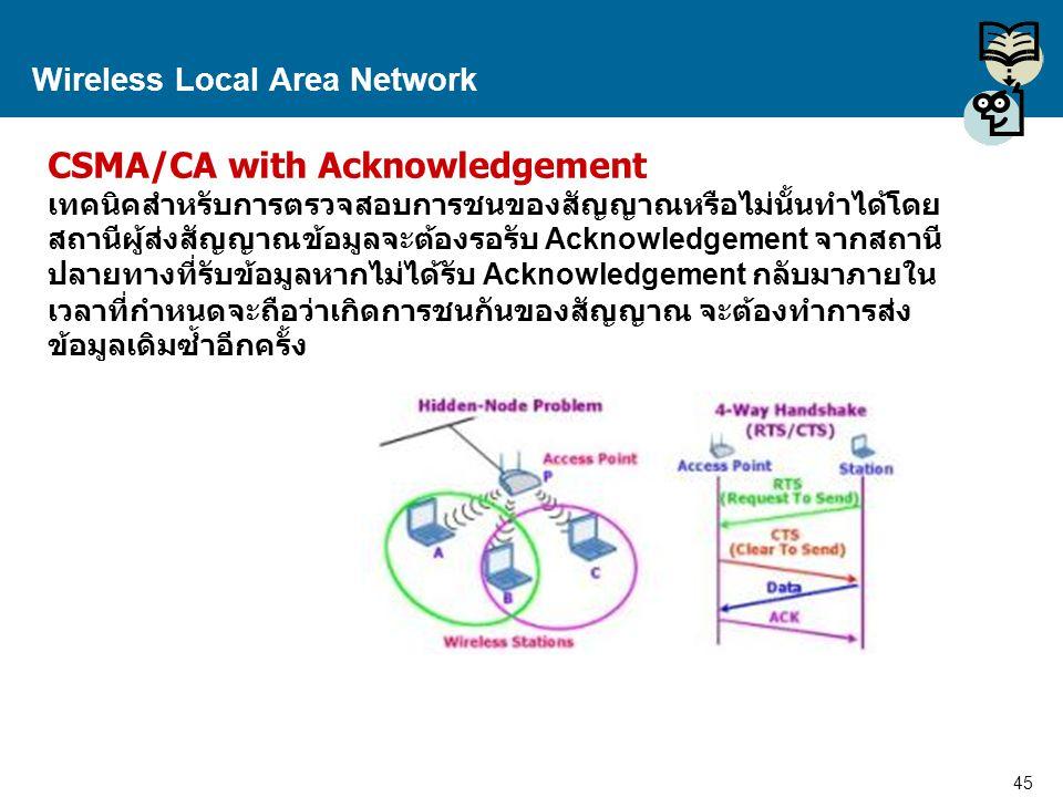 45 Proprietary and Confidential to Accenture Wireless Local Area Network CSMA/CA with Acknowledgement เทคนิคสำหรับการตรวจสอบการชนของสัญญาณหรือไม่นั้นท