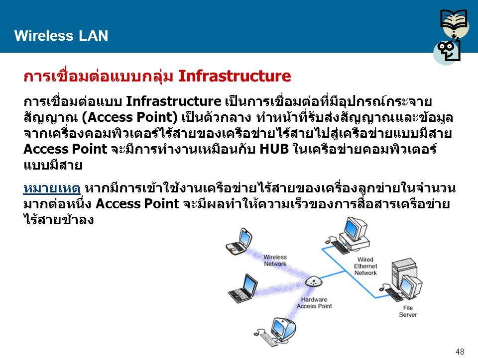 48 Proprietary and Confidential to Accenture Wireless LAN การเชื่อมต่อแบบกลุ่ม Infrastructure การเชื่อมต่อแบบ Infrastructure เป็นการเชื่อมต่อที่มีอุปก