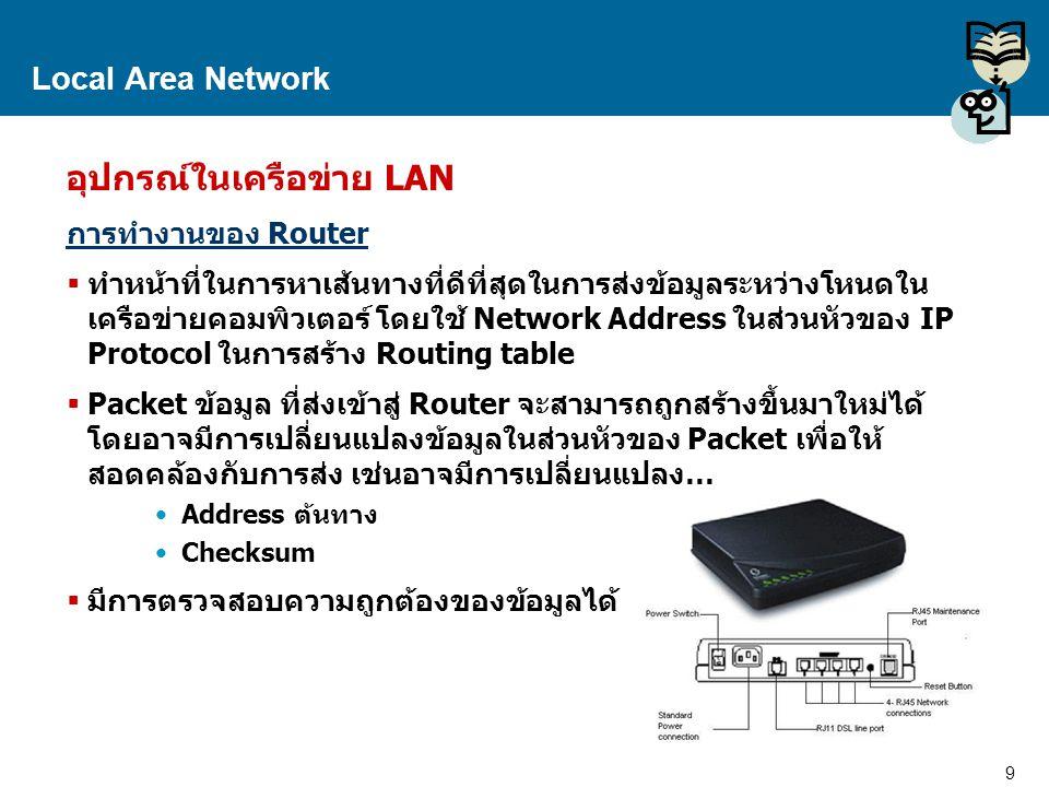 9 Proprietary and Confidential to Accenture Local Area Network อุปกรณ์ในเครือข่าย LAN การทำงานของ Router  ทำหน้าที่ในการหาเส้นทางที่ดีที่สุดในการส่งข