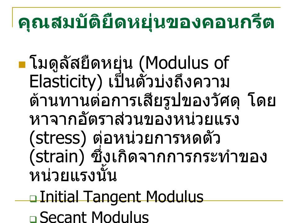 คุณสมบัติยืดหยุ่นของคอนกรีต โมดูลัสยืดหยุ่น (Modulus of Elasticity) เป็นตัวบ่งถึงความ ต้านทานต่อการเสียรูปของวัศดุ โดย หาจากอัตราส่วนของหน่วยแรง (stre