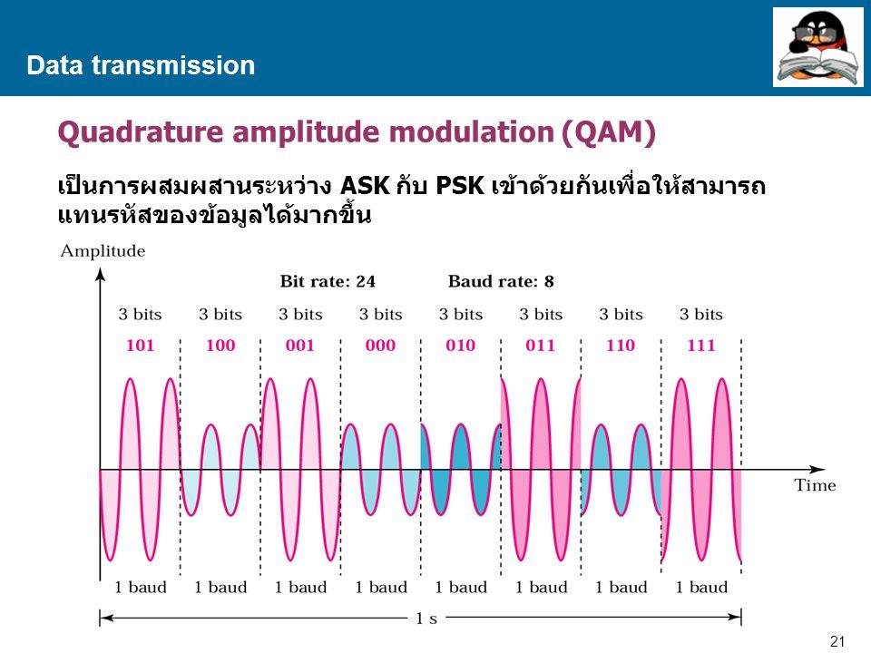 21 Proprietary and Confidential to Accenture Data transmission Quadrature amplitude modulation (QAM) เป็นการผสมผสานระหว่าง ASK กับ PSK เข้าด้วยกันเพื่อให้สามารถ แทนรหัสของข้อมูลได้มากขึ้น