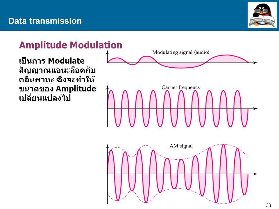 33 Proprietary and Confidential to Accenture Data transmission Amplitude Modulation เป็นการ Modulate สัญญาณแอนะล็อคกับ คลื่นพาหะ ซึ่งจะทำให้ ขนาดของ Amplitude เปลี่ยนแปลงไป