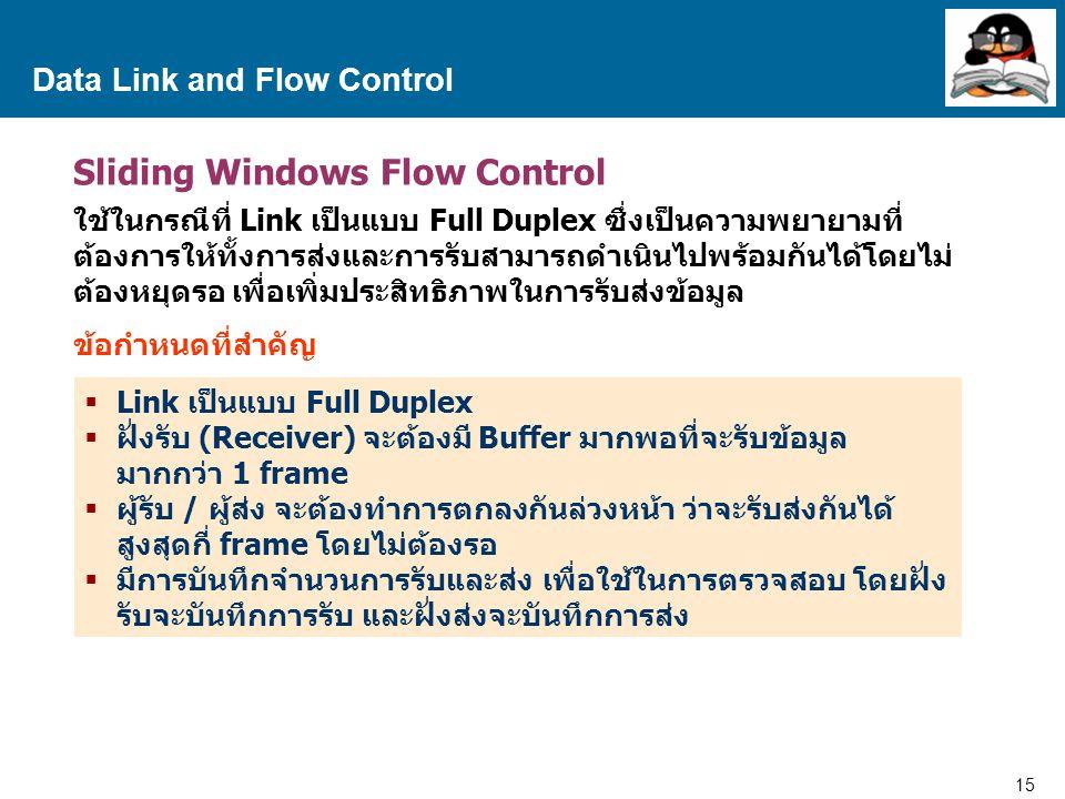 15 Proprietary and Confidential to Accenture Data Link and Flow Control Sliding Windows Flow Control ใช้ในกรณีที่ Link เป็นแบบ Full Duplex ซึ่งเป็นความพยายามที่ ต้องการให้ทั้งการส่งและการรับสามารถดำเนินไปพร้อมกันได้โดยไม่ ต้องหยุดรอ เพื่อเพิ่มประสิทธิภาพในการรับส่งข้อมูล ข้อกำหนดที่สำคัญ  Link เป็นแบบ Full Duplex  ฝั่งรับ (Receiver) จะต้องมี Buffer มากพอที่จะรับข้อมูล มากกว่า 1 frame  ผู้รับ / ผู้ส่ง จะต้องทำการตกลงกันล่วงหน้า ว่าจะรับส่งกันได้ สูงสุดกี่ frame โดยไม่ต้องรอ  มีการบันทึกจำนวนการรับและส่ง เพื่อใช้ในการตรวจสอบ โดยฝั่ง รับจะบันทึกการรับ และฝั่งส่งจะบันทึกการส่ง