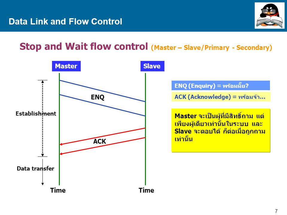 7 Proprietary and Confidential to Accenture Data Link and Flow Control Stop and Wait flow control (Master – Slave/Primary - Secondary) MasterSlave ENQ ACK ENQ (Enquiry) = พร้อมมั๊ย.