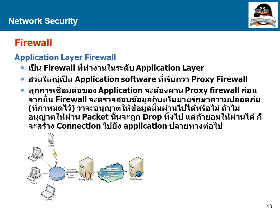 13 Proprietary and Confidential to Accenture Network Security Firewall Application Layer Firewall เป็น Firewall ที่ทำงานในระดับ Application Layer ส่วน