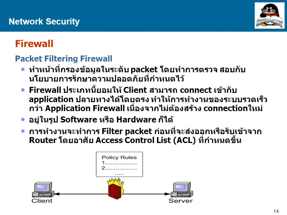 14 Proprietary and Confidential to Accenture Network Security Firewall Packet Filtering Firewall ทำหน้าที่กรองข้อมูลในระดับ packet โดยทำการตรวจ สอบกับ