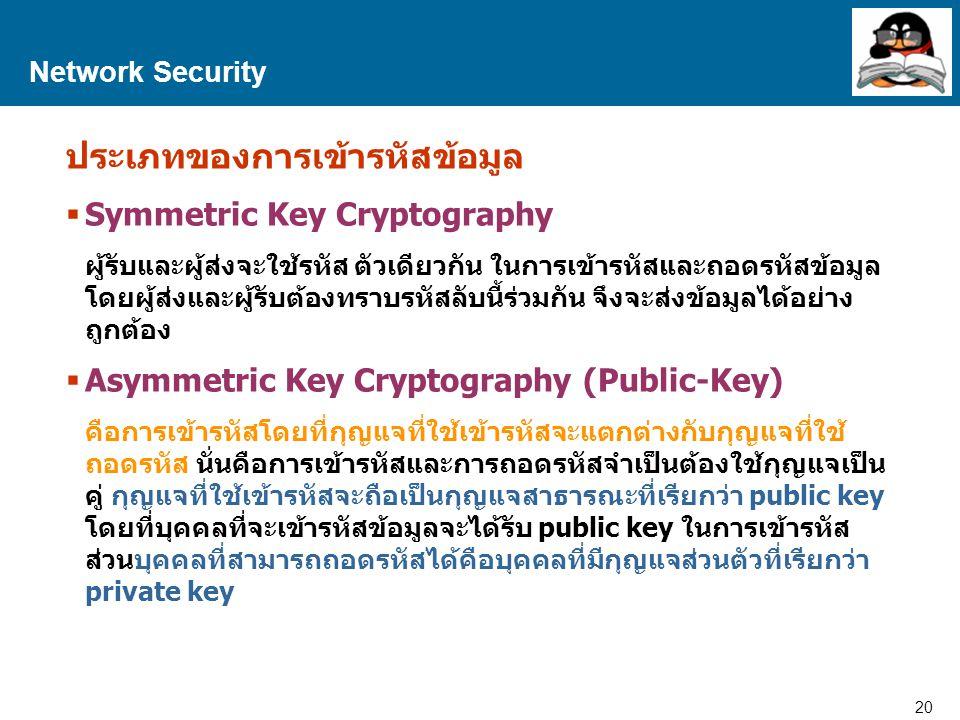 20 Proprietary and Confidential to Accenture Network Security ประเภทของการเข้ารหัสข้อมูล  Symmetric Key Cryptography ผู้รับและผู้ส่งจะใช้รหัส ตัวเดียวกัน ในการเข้ารหัสและถอดรหัสข้อมูล โดยผู้ส่งและผู้รับต้องทราบรหัสลับนี้ร่วมกัน จึงจะส่งข้อมูลได้อย่าง ถูกต้อง  Asymmetric Key Cryptography (Public-Key) คือการเข้ารหัสโดยที่กุญแจที่ใช้เข้ารหัสจะแตกต่างกับกุญแจที่ใช้ ถอดรหัส นั่นคือการเข้ารหัสและการถอดรหัสจำเป็นต้องใช้กุญแจเป็น คู่ กุญแจที่ใช้เข้ารหัสจะถือเป็นกุญแจสาธารณะที่เรียกว่า public key โดยที่บุคคลที่จะเข้ารหัสข้อมูลจะได้รับ public key ในการเข้ารหัส ส่วนบุคคลที่สามารถถอดรหัสได้คือบุคคลที่มีกุญแจส่วนตัวที่เรียกว่า private key