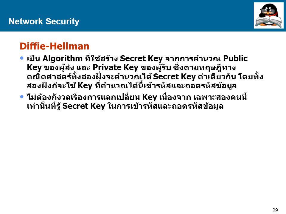 29 Proprietary and Confidential to Accenture Network Security Diffie-Hellman เป็น Algorithm ที่ใช้สร้าง Secret Key จากการคำนวณ Public Key ของผู้ส่ง และ Private Key ของผู้รับ ซึ่งตามทฤษฎีทาง คณิตศาสตร์ทั้งสองฝั่งจะคำนวณได้ Secret Key ค่าเดียวกัน โดยทั้ง สองฝั่งก็จะใช้ Key ที่คำนวณได้นี้เข้ารหัสและถอดรหัสข้อมูล ไม่ต้องกังวลเรื่องการแลกเปลี่ยน Key เนื่องจาก เฉพาะสองคนนี้ เท่านั้นที่รู้ Secret Key ในการเข้ารหัสและถอดรหัสข้อมูล