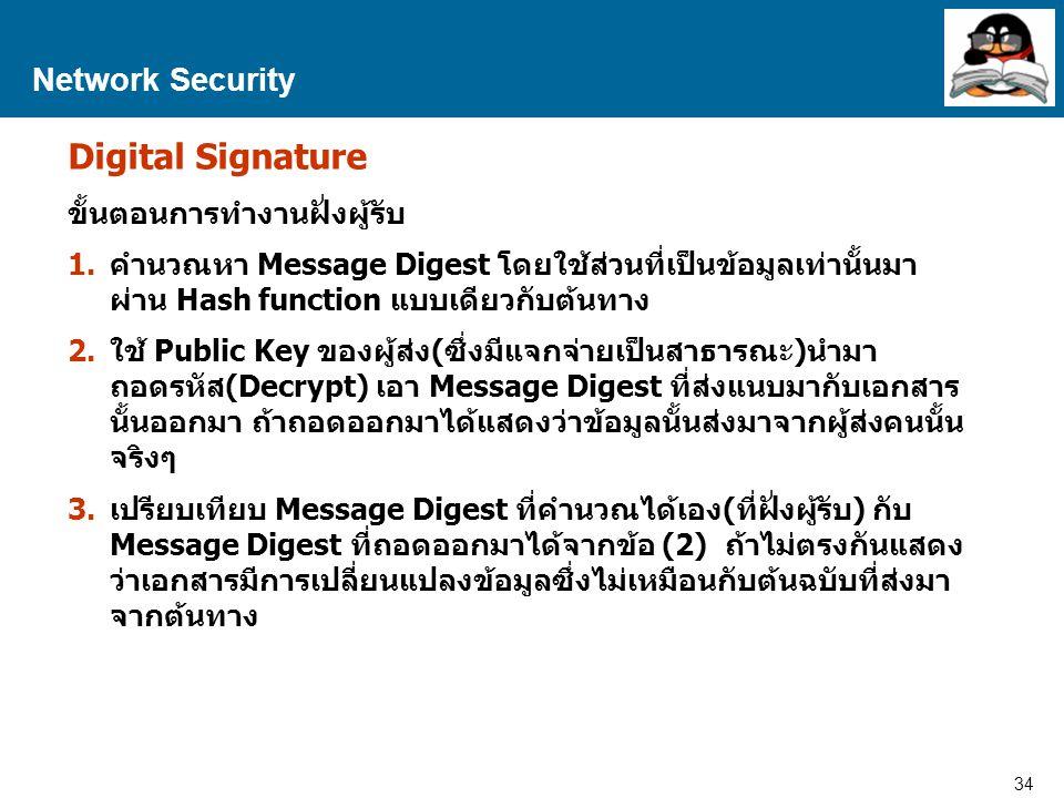 34 Proprietary and Confidential to Accenture Network Security Digital Signature ขั้นตอนการทำงานฝั่งผู้รับ 1.คำนวณหา Message Digest โดยใช้ส่วนที่เป็นข้อมูลเท่านั้นมา ผ่าน Hash function แบบเดียวกับต้นทาง 2.ใช้ Public Key ของผู้ส่ง(ซึ่งมีแจกจ่ายเป็นสาธารณะ)นำมา ถอดรหัส(Decrypt) เอา Message Digest ที่ส่งแนบมากับเอกสาร นั้นออกมา ถ้าถอดออกมาได้แสดงว่าข้อมูลนั้นส่งมาจากผู้ส่งคนนั้น จริงๆ 3.เปรียบเทียบ Message Digest ที่คำนวณได้เอง(ที่ฝั่งผู้รับ) กับ Message Digest ที่ถอดออกมาได้จากข้อ (2) ถ้าไม่ตรงกันแสดง ว่าเอกสารมีการเปลี่ยนแปลงข้อมูลซึ่งไม่เหมือนกับต้นฉบับที่ส่งมา จากต้นทาง