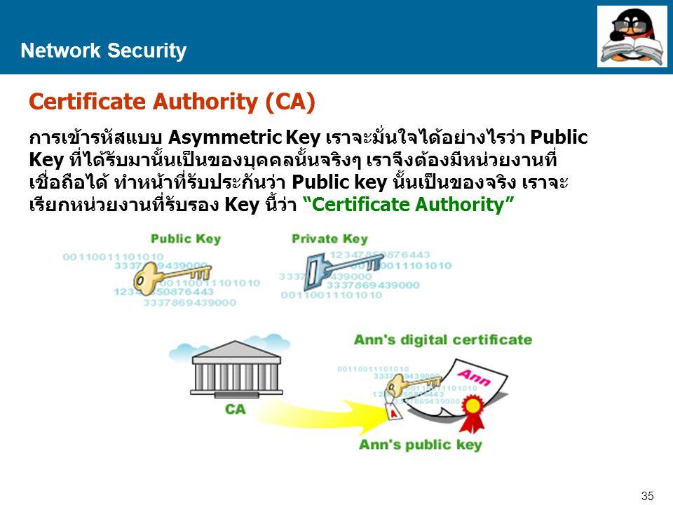 35 Proprietary and Confidential to Accenture Network Security Certificate Authority (CA) การเข้ารหัสแบบ Asymmetric Key เราจะมั่นใจได้อย่างไรว่า Public Key ที่ได้รับมานั้นเป็นของบุคคลนั้นจริงๆ เราจึงต้องมีหน่วยงานที่ เชื่อถือได้ ทำหน้าที่รับประกันว่า Public key นั้นเป็นของจริง เราจะ เรียกหน่วยงานที่รับรอง Key นี้ว่า Certificate Authority