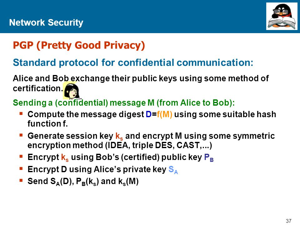 37 Proprietary and Confidential to Accenture Network Security PGP (Pretty Good Privacy) Standard protocol for confidential communication: Alice and Bo