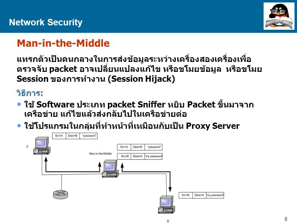 9 Proprietary and Confidential to Accenture Network Security DOS – Denial of Service เป็นการโจมตีเครือข่าย โดยทำให้เครื่อง Server หรืออุปกรณ์ใน เครือข่ายไม่สามารถให้บริการได้ วิธีการ: ใช้ Software เพื่อเปิดการเชื่อมต่อกับ Server จนเลยขีด ความสามารถของเครื่อง Server ที่จะรับได้ ส่ง Packet จำนวนมากเข้าสู่ Server นั้นพร้อมๆกัน จนเครือข่ายรับ ไม่ไหว เช่น กรณี Ping of Death (ส่ง Ping packet ขนาดใหญ่ จำนวนมาก เข้าสู่ Server พร้อมๆกัน จนเครื่องใช้เวลาในการทำงาน (CPU time) ในการตอบกลับหรือสร้าง Response packet จนหมด)