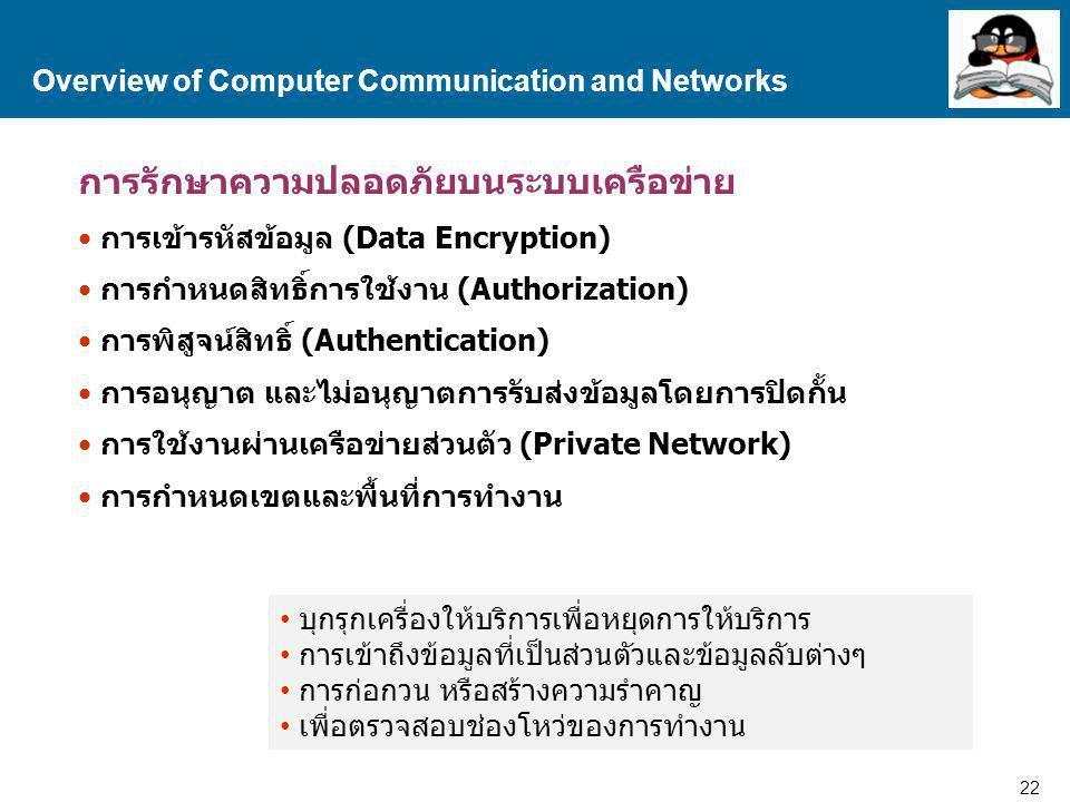 22 Proprietary and Confidential to Accenture การรักษาความปลอดภัยบนระบบเครือข่าย การเข้ารหัสข้อมูล (Data Encryption) การกำหนดสิทธิ์การใช้งาน (Authorization) การพิสูจน์สิทธิ์ (Authentication) การอนุญาต และไม่อนุญาตการรับส่งข้อมูลโดยการปิดกั้น การใช้งานผ่านเครือข่ายส่วนตัว (Private Network) การกำหนดเขตและพื้นที่การทำงาน Overview of Computer Communication and Networks บุกรุกเครื่องให้บริการเพื่อหยุดการให้บริการ การเข้าถึงข้อมูลที่เป็นส่วนตัวและข้อมูลลับต่างๆ การก่อกวน หรือสร้างความรำคาญ เพื่อตรวจสอบช่องโหว่ของการทำงาน