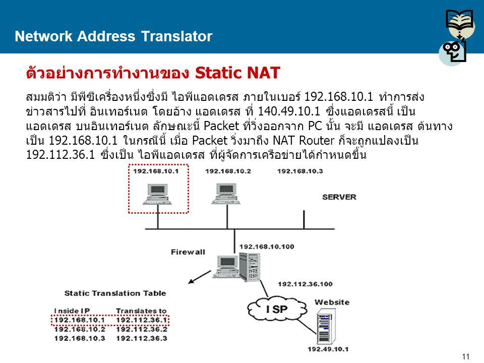 11 Proprietary and Confidential to Accenture Network Address Translator ตัวอย่างการทำงานของ Static NAT สมมติว่า มีพีซีเครื่องหนึ่งซึ่งมี ไอพีแอดเดรส ภ