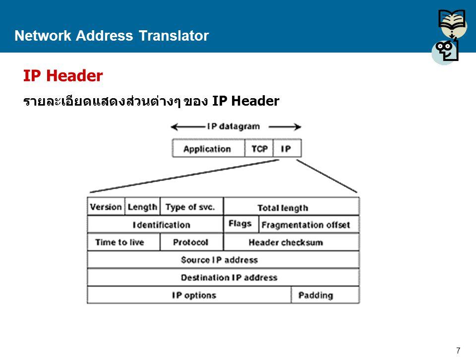 7 Proprietary and Confidential to Accenture Network Address Translator IP Header รายละเอียดแสดงส่วนต่างๆ ของ IP Header