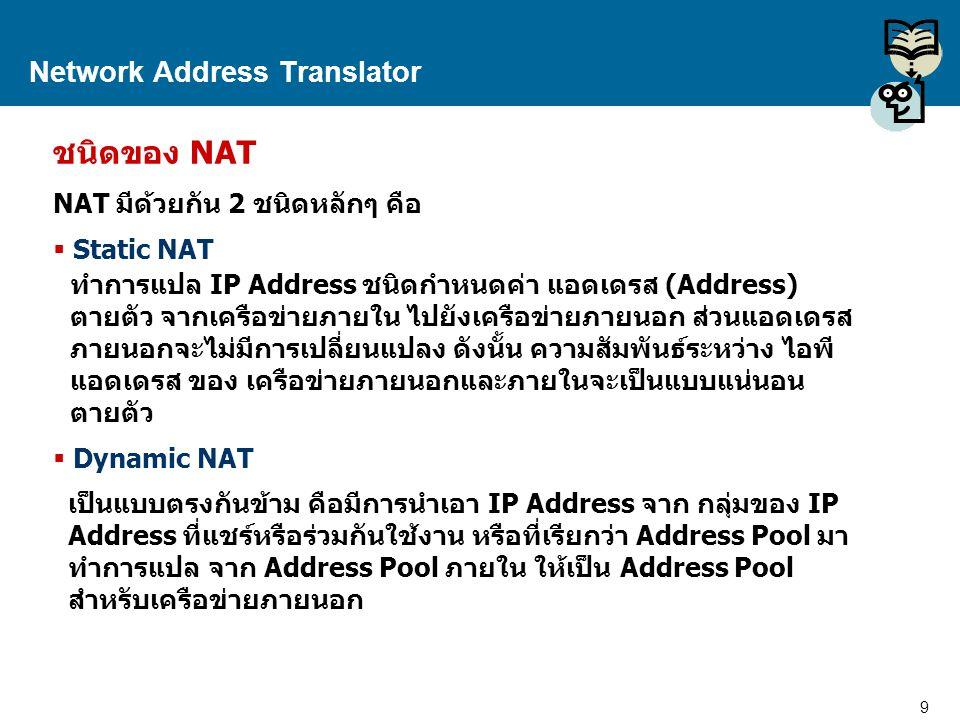 9 Proprietary and Confidential to Accenture Network Address Translator ชนิดของ NAT NAT มีด้วยกัน 2 ชนิดหลักๆ คือ  Static NAT  Dynamic NAT ทำการแปล I