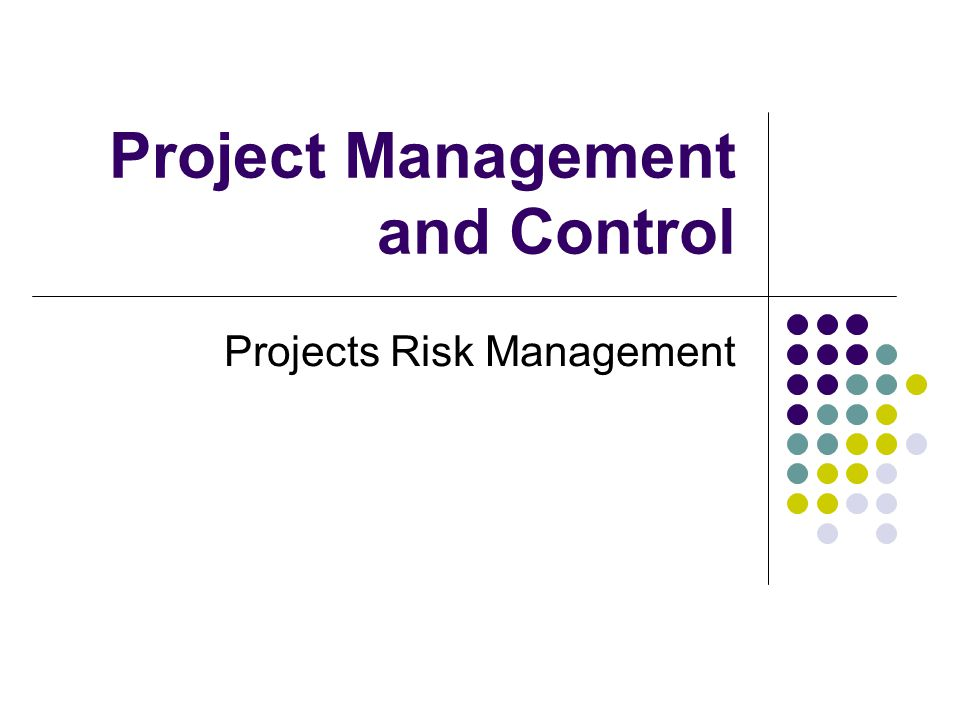 Project Management and Control Projects Risk Management