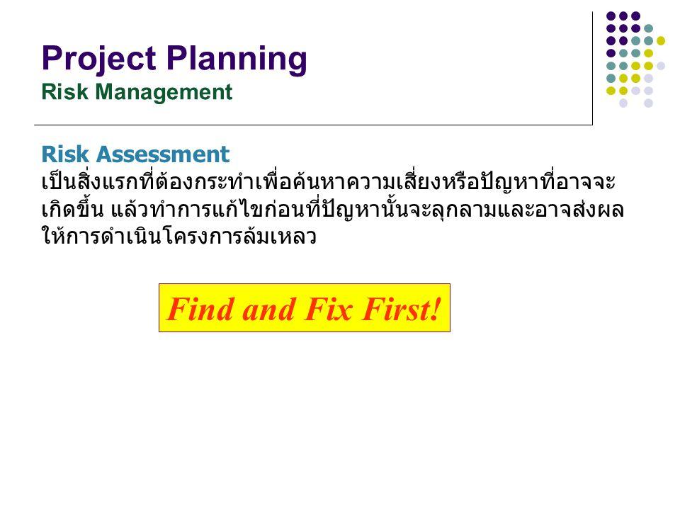 Project Planning Risk Management Risk Assessment เป็นสิ่งแรกที่ต้องกระทำเพื่อค้นหาความเสี่ยงหรือปัญหาที่อาจจะ เกิดขึ้น แล้วทำการแก้ไขก่อนที่ปัญหานั้นจ