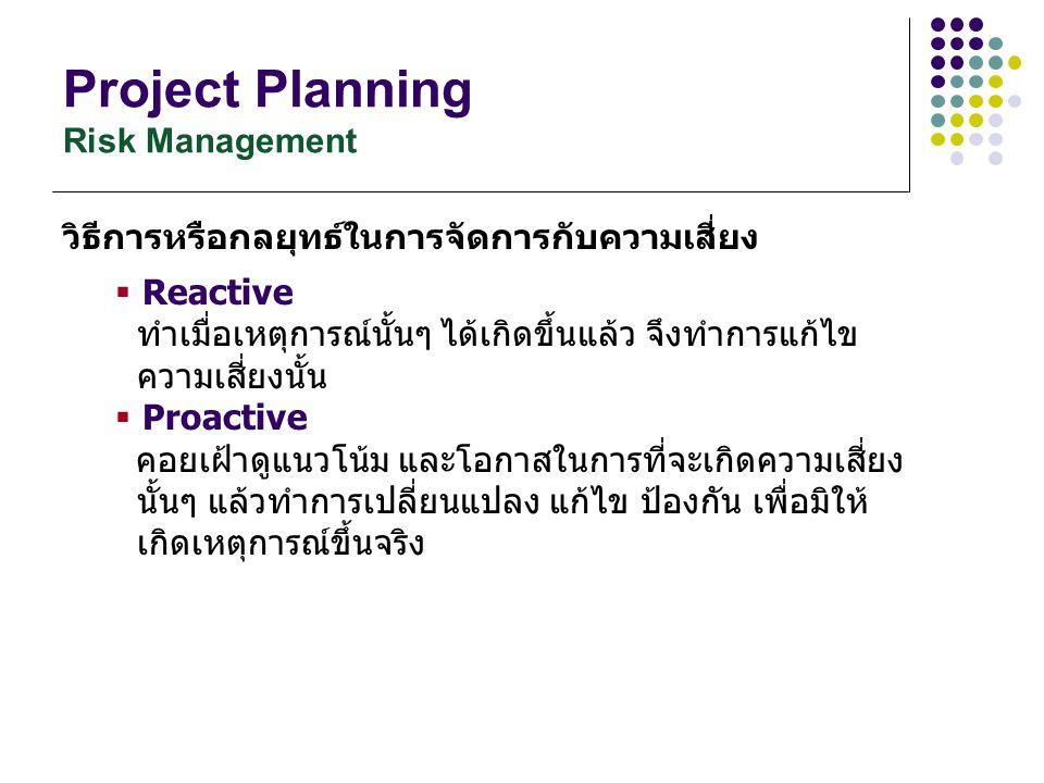 Project Planning Risk Management วิธีการหรือกลยุทธ์ในการจัดการกับความเสี่ยง  Reactive ทำเมื่อเหตุการณ์นั้นๆ ได้เกิดขึ้นแล้ว จึงทำการแก้ไข ความเสี่ยงน