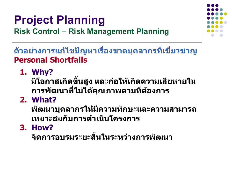 Project Planning Risk Control – Risk Management Planning 1. Why? มีโอกาสเกิดขึ้นสูง และก่อให้เกิดความเสียหายใน การพัฒนาที่ไม่ได้คุณภาพตามที่ต้องการ 2.