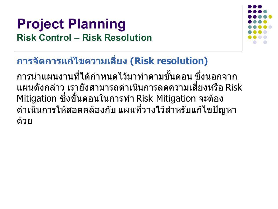 Project Planning Risk Control – Risk Resolution การจัดการแก้ไขความเสี่ยง (Risk resolution) การนำแผนงานที่ได้กำหนดไว้มาทำตามขั้นตอน ซึ่งนอกจาก แผนดังกล