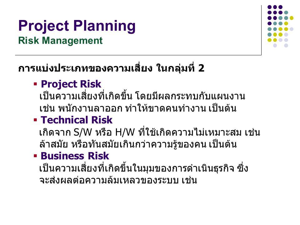 Project Planning Risk Management การแบ่งประเภทของความเสี่ยง ในกลุ่มที่ 2  Project Risk เป็นความเสี่ยงที่เกิดขึ้น โดยมีผลกระทบกับแผนงาน เช่น พนักงานลา
