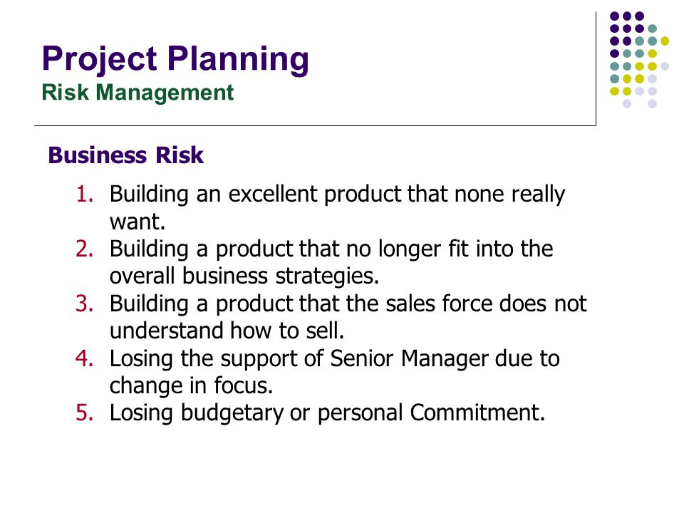 Project Planning Risk Assessment – Risk identification External methods of identifying risks:  Employ professional consultants, e.g.