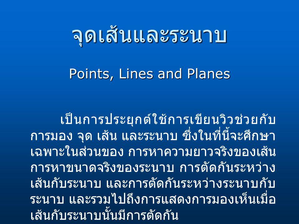 จุดเส้นและระนาบ Points, Lines and Planes เป็นการประยุกต์ใช้การเขียนวิวช่วยกับ การมอง จุด เส้น และระนาบ ซึ่งในที่นี้จะศึกษา เฉพาะในส่วนของ การหาความยาว