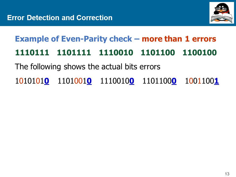 13 Proprietary and Confidential to Accenture Error Detection and Correction Example of Even-Parity check – more than 1 errors 1110111 1101111 1110010 1101100 1100100 The following shows the actual bits errors 10101010 11010010 11100100 11011000 10011001