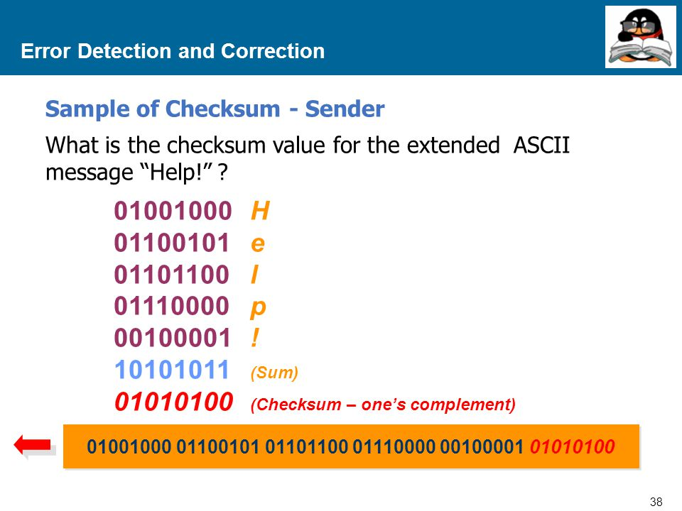 "38 Proprietary and Confidential to Accenture Error Detection and Correction What is the checksum value for the extended ASCII message ""Help!"" ? 010010"