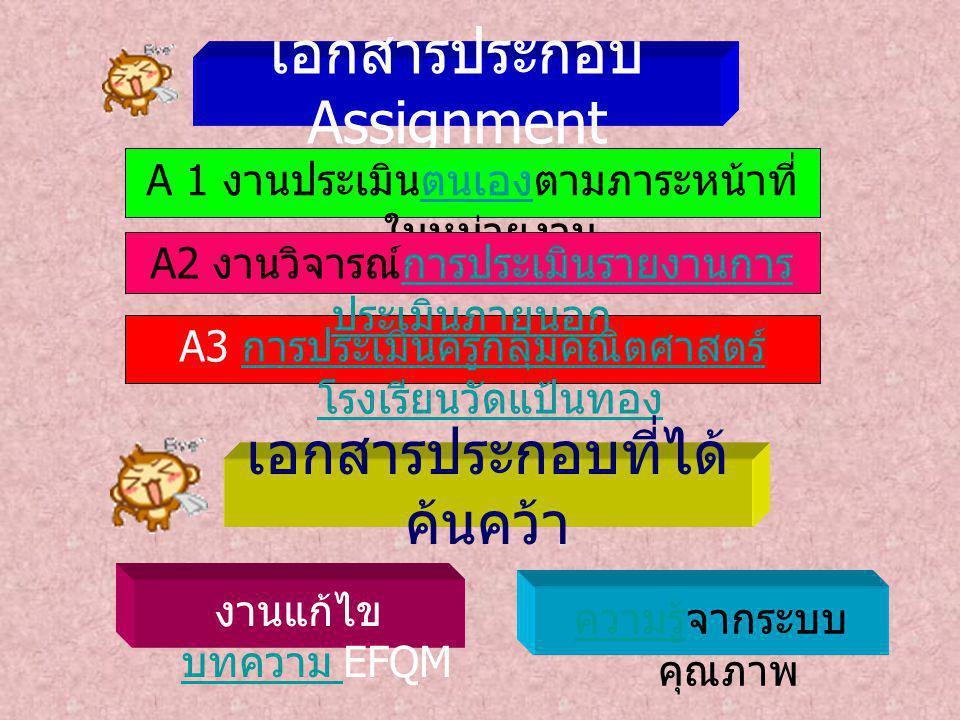 เอกสารประกอบ Assignment A3 การประเมินครูกลุ่มคณิตศาสตร์ โรงเรียนวัดแป้นทอง การประเมินครูกลุ่มคณิตศาสตร์ โรงเรียนวัดแป้นทอง ความรู้จากระบบ คุณภาพ งานแก้ไข บทความ EFQM A 1 งานประเมินตนเองตามภาระหน้าที่ ในหน่วยงาน A2 งานวิจารณ์การประเมินรายงานการ ประเมินภายนอก เอกสารประกอบที่ได้ ค้นคว้า