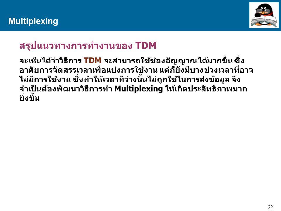 22 Proprietary and Confidential to Accenture Multiplexing สรุปแนวทางการทำงานของ TDM จะเห็นได้ว่าวิธีการ TDM จะสามารถใช้ช่องสัญญาณได้มากขึ้น ซึ่ง อาศัย