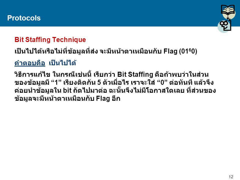12 Proprietary and Confidential to Accenture Protocols Bit Staffing Technique เป็นไปได้หรือไม่ที่ข้อมูลที่ส่ง จะมีหน้าตาเหมือนกับ Flag (01 6 0) คำตอบค