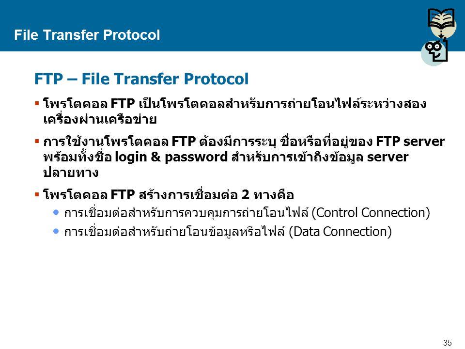 35 Proprietary and Confidential to Accenture File Transfer Protocol FTP – File Transfer Protocol  โพรโตคอล FTP เป็นโพรโตคอลสำหรับการถ่ายโอนไฟล์ระหว่า