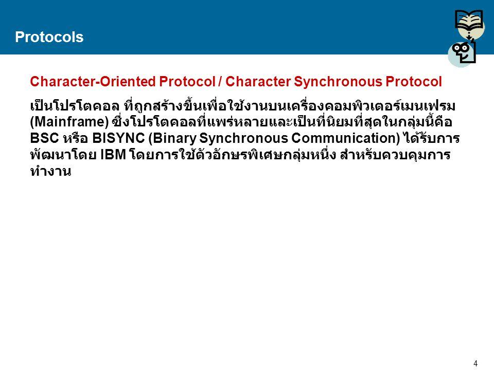 5 Proprietary and Confidential to Accenture Protocols BSC – (Binary Synchronous Communication) อักษรควบคุม ชื่อเต็มหน้าที่ ACKPositive Acknowledgment ใช้ตอบรับข้อมูลที่ไม่มีข้อ ผิดเพี้ยน NAKNegative Acknowledgment ใช้ตอบรับข้อมูลที่พบว่ามี ข้อผิดเพี้ยน ENQEnquiry ใช้แสดงความต้องการจะใช้ ช่องสื่อสาร DLEData Link Escape ใช้ร่วมกับตัวควบคุมอื่นๆ SYNSynchronization ใช้สำหรับเปรียบเทียบจังหวะ การรับ - ส่งสัญญาณ STXStart of Text ใช้แสดงจุดเริ่มต้นของข้อมูล SOHStart of Header ใช้แสดงจุดเริ่มต้นของส่วนควบคุม ETXEnd of Text ใช้แสดงจุดสิ้นสุดของข้อมูล ETBEnd of Block ใช้แสดงจุดสิ้นสุดของ Block EOTEnd of Transmission ใช้แสดงความต้องการสิ้นสุด หรือยกเลิกการสื่อสาร