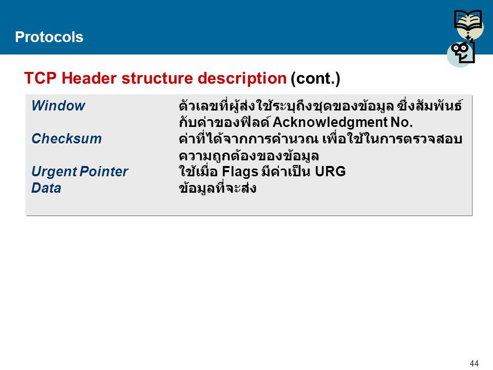 44 Proprietary and Confidential to Accenture Protocols TCP Header structure description (cont.) Window ตัวเลขที่ผู้ส่งใช้ระบุถึงชุดของข้อมูล ซึ่งสัมพั