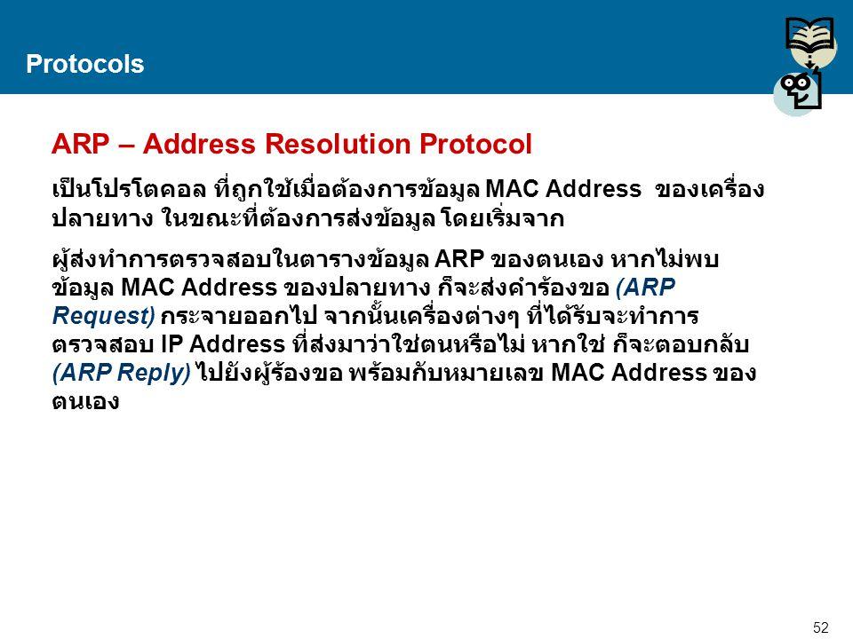 52 Proprietary and Confidential to Accenture Protocols ARP – Address Resolution Protocol เป็นโปรโตคอล ที่ถูกใช้เมื่อต้องการข้อมูล MAC Address ของเครื่