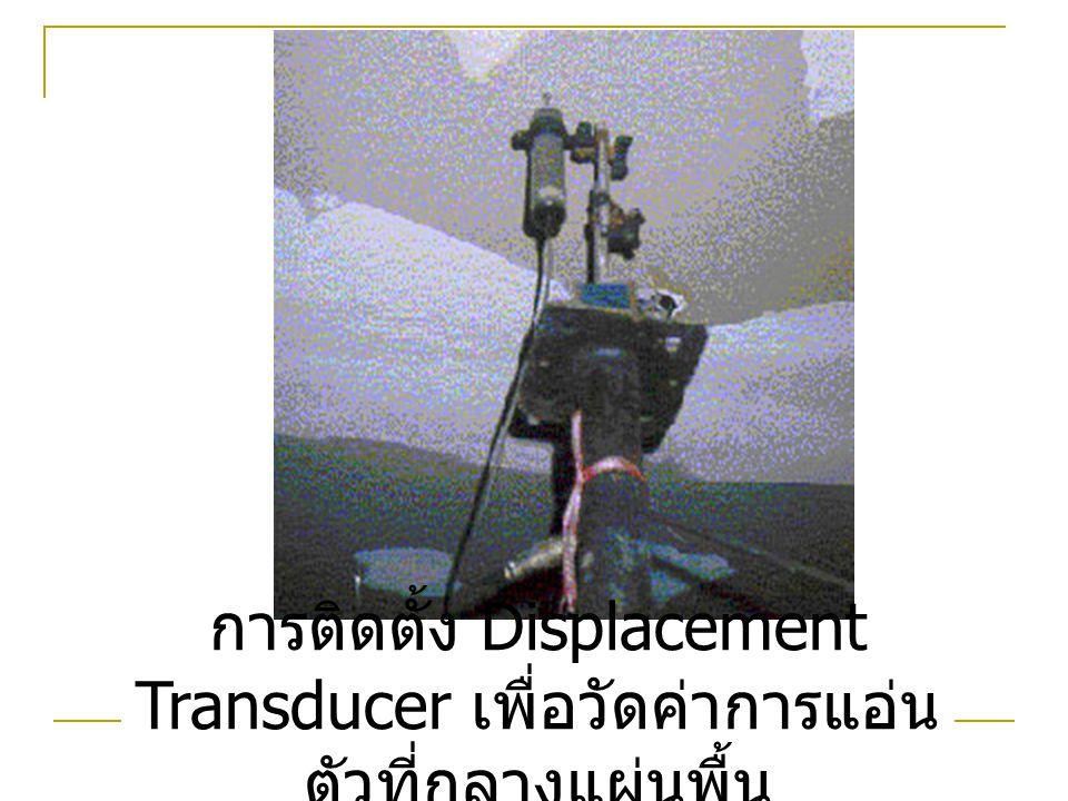 การติดตั้ง Displacement Transducer เพื่อวัดค่าการแอ่น ตัวที่กลางแผ่นพื้น