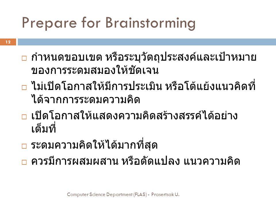 Prepare for Brainstorming  กำหนดขอบเขต หรือระบุวัตถุประสงค์และเป้าหมาย ของการระดมสมองให้ชัดเจน  ไม่เปิดโอกาสให้มีการประเมิน หรือโต้แย้งแนวคิดที่ ได้